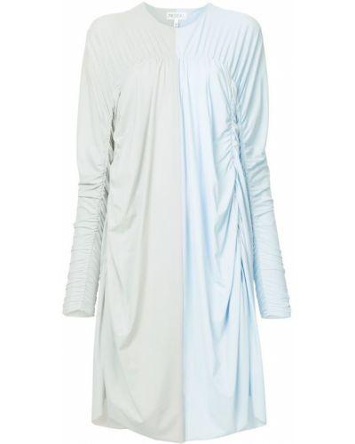 Платье макси с длинными рукавами - синее Paskal