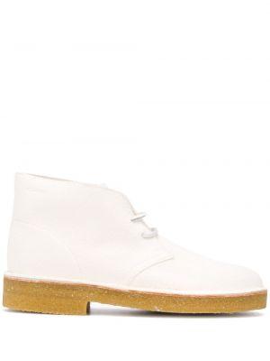 Białe ankle boots zamszowe koronkowe Clarks Originals