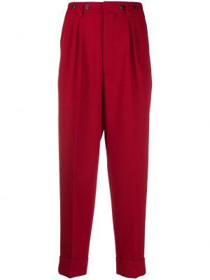 Beżowe spodnie wełniane z paskiem Ami