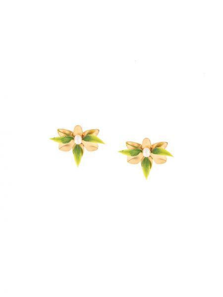 Zielone złote kolczyki sztyfty Mercedes Salazar