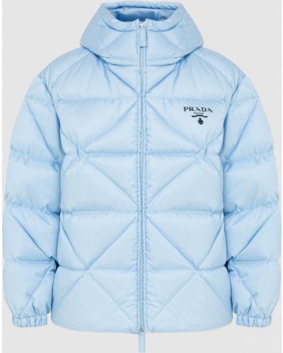 Голубая пуховая куртка Prada