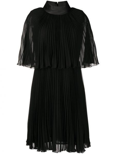 Czarna sukienka mini krótki rękaw ze stójką Edward Achour Paris