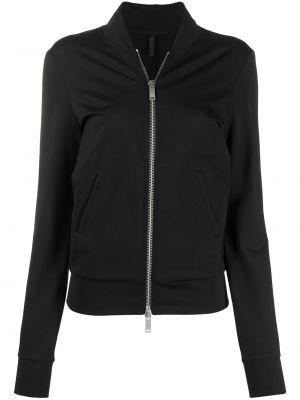 Черная спортивная куртка на молнии с воротником с нашивками Unravel Project