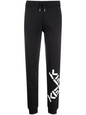 Свободные черные спортивные брюки с поясом Kenzo