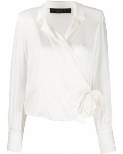 Блузка с открытыми плечами в полоску с запахом Federica Tosi