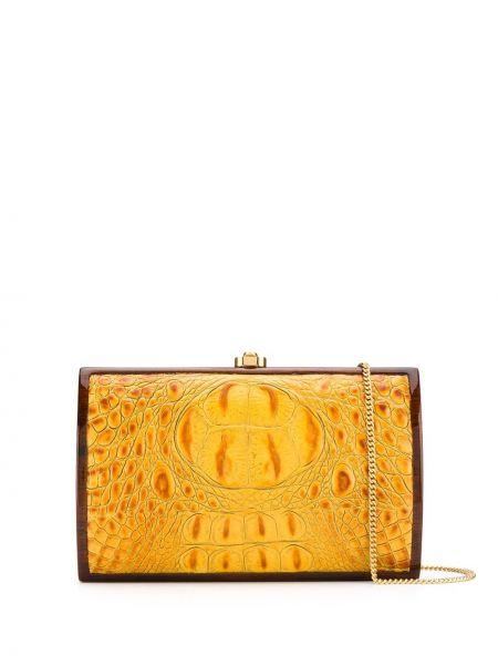 Золотистая желтая кожаная сумка с тиснением из искусственной кожи Rocio