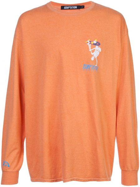Pomarańczowy t-shirt z długimi rękawami bawełniany Adaptation