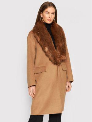Płaszcz wełniany - brązowy Liu Jo