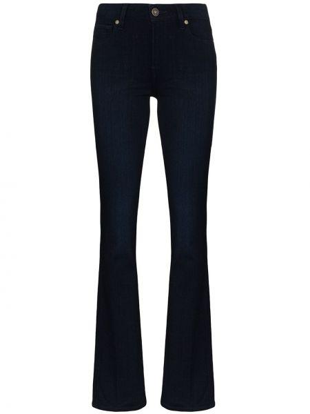 Расклешенные хлопковые синие расклешенные джинсы на пуговицах Paige