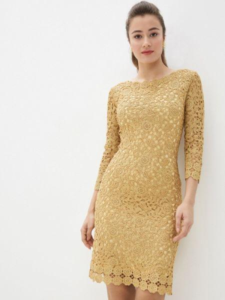 Вечернее платье осеннее желтый Lusio
