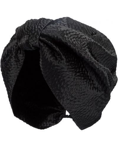Satyna czarny turban Jennifer Behr