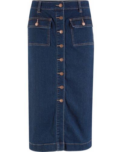 Джинсовая юбка миди темно-синий Bonprix
