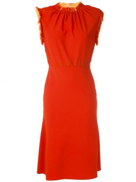Оранжевое платье миди без рукавов с бахромой À La Garçonne