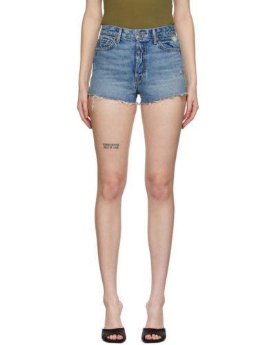 Кожаные джинсовые шорты с карманами с манжетами Grlfrnd