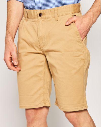Brązowe szorty jeansowe materiałowe Tommy Jeans