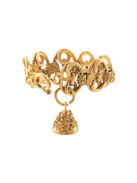 Браслет золотой позолоченный круглый Chanel Pre-owned