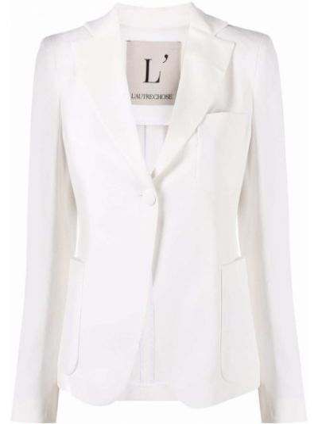 Белый удлиненный пиджак с карманами на пуговицах L'autre Chose