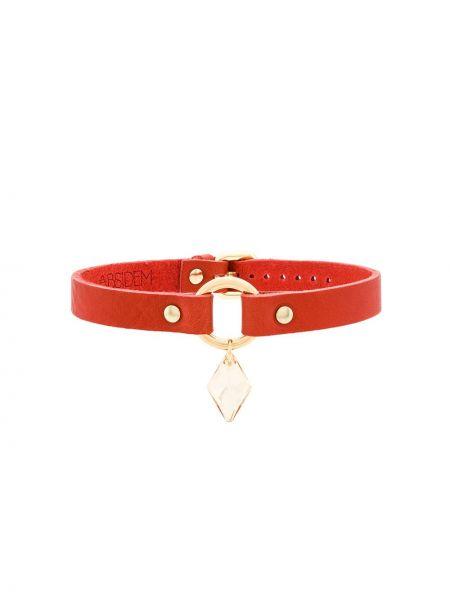 Красный кожаный чокер с подвесками Absidem