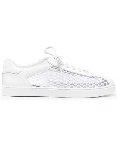 Кожаные белые кроссовки на шнуровке Gianvito Rossi