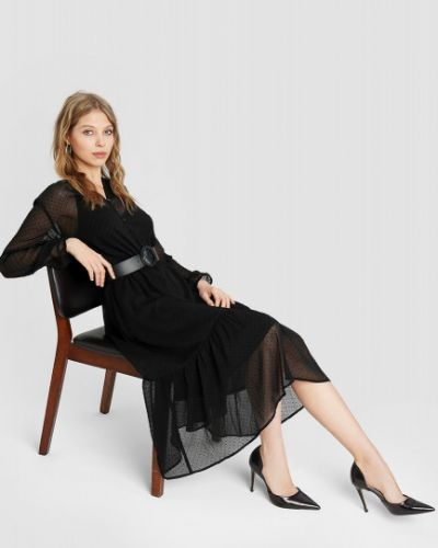 Шифоновое с рукавами черное платье миди Ostin