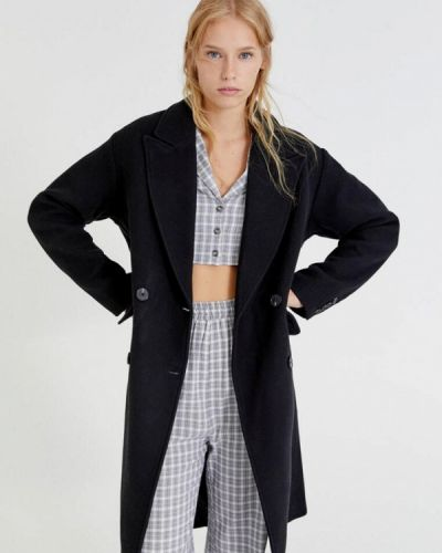 Пальто двубортное - черное Pull&bear