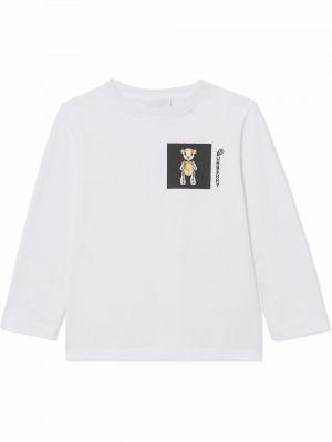 Biała T-shirt z nadrukiem z printem Burberry Kids