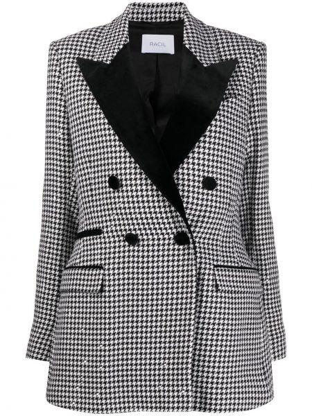 Czarna kurtka wełniana z printem Racil