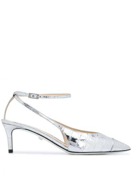 Туфли на каблуке кожаные с острым носком Grey Mer