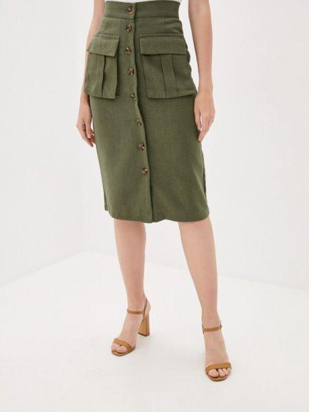 Прямая юбка осенняя хаки B.style
