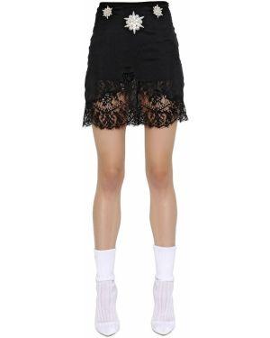 Ажурная юбка с вышивкой на молнии из крепа Francesco Scognamiglio