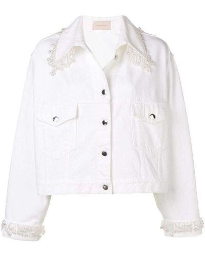 Джинсовая куртка с бахромой на пуговицах Christopher Kane