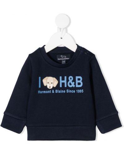 С рукавами синий свитшот круглый с круглым вырезом Harmont & Blaine Junior