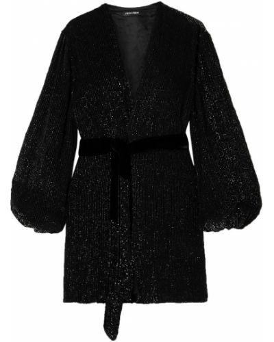 Czarna sukienka mini kopertowa z cekinami Retrofete