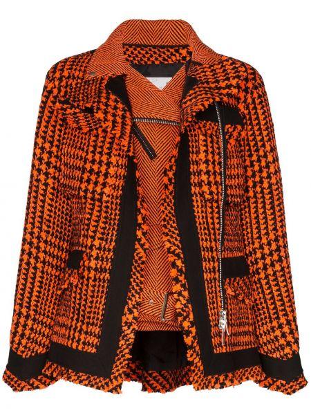 Оранжевый шерстяной пиджак двубортный Sacai