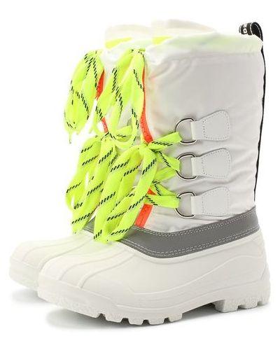 Кожаные белые сапоги-луноходы на шнуровке Dsquared2
