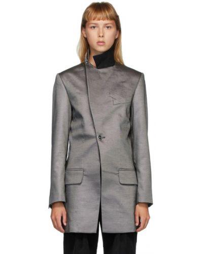 Сатиновый черный пиджак с карманами с воротником Situationist