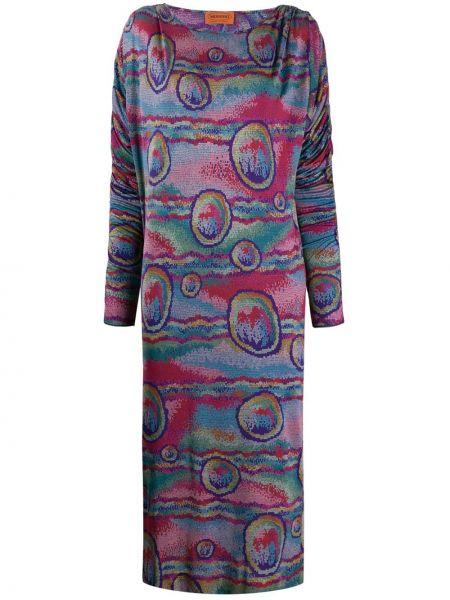 Шелковое приталенное платье мини летучая мышь с воротником Missoni Pre-owned