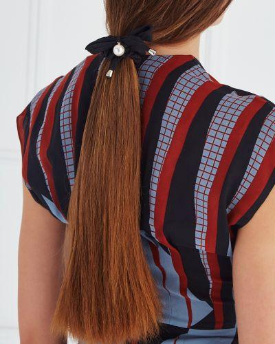 Резинка для волос с жемчугом черная Lisa Smith