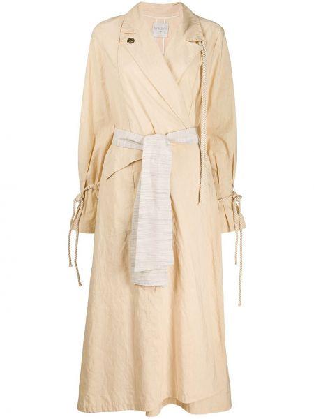 Хлопковый длинное пальто с поясом с воротником Forte Forte