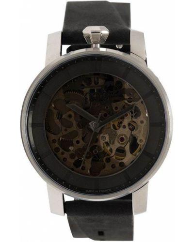 Szary zegarek na skórzanym pasku skórzany do pracy Fob Paris