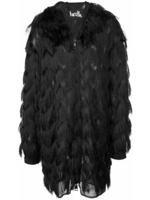 Черное длинное пальто с капюшоном с воротником Haculla