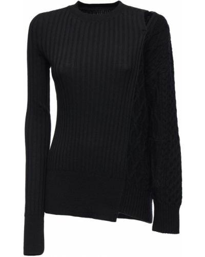 Шерстяной свитер - черный Sacai