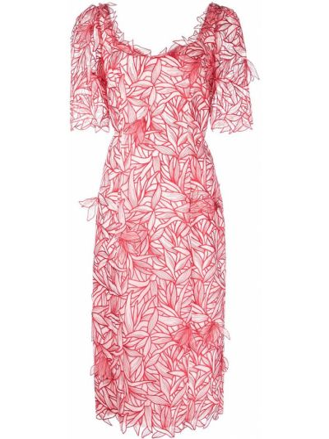 Платье с вышивкой - красное Marchesa Notte