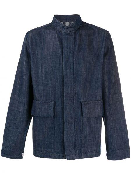 Niebieska koszula jeansowa bawełniana z długimi rękawami Barbour