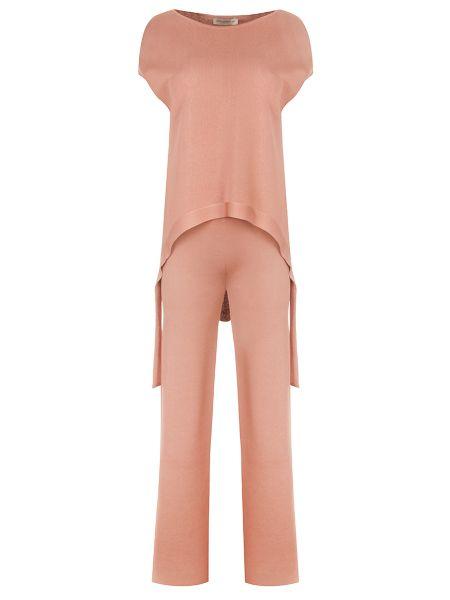 Бежевый костюм свободного кроя с поясом из вискозы Gentryportofino
