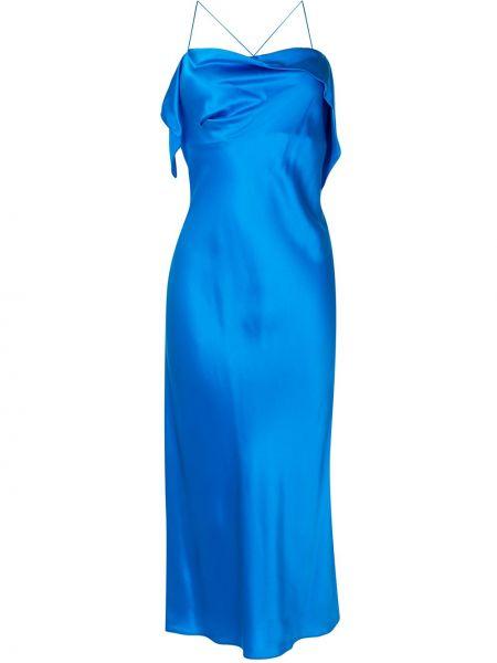 Шелковое бирюзовое коктейльное платье на бретелях с драпировкой Michelle Mason