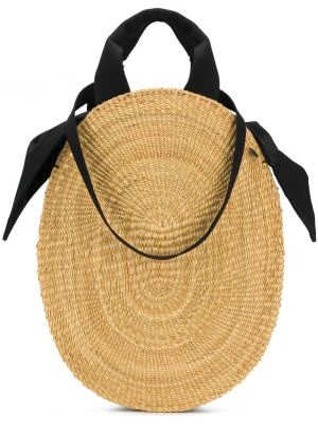 Хлопковая соломенная кожаная сумка круглая Muun
