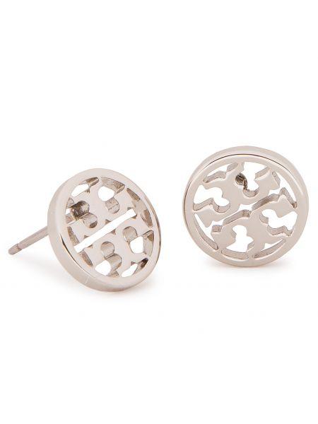 Kolczyki ze sztyftem metal srebro Tory Burch