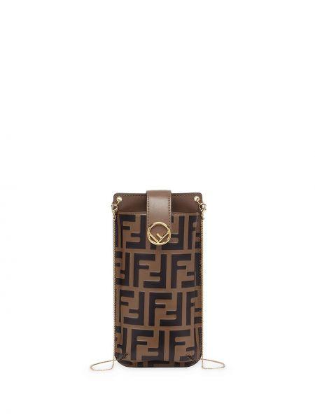 Z paskiem czarny torebka na łańcuszku z prawdziwej skóry z gniazdem Fendi