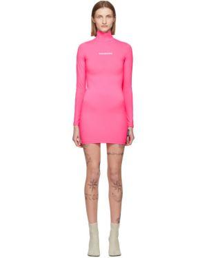 Платье макси розовое с отложным воротником Vetements